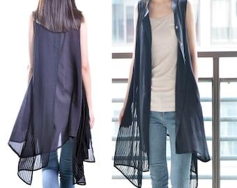 bamboo dream - zen layered tunic dress / artist shirt dress / layered vest / sleeveless dress / idea2lifestyle tunic (Y1519)