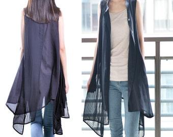 bamboo dream - zen layered tunic dress / long vest / artist shirt dress / layered vest / sleeveless dress / idea2lifestyle tunic (Y1519)