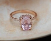 Peach Sapphire Ring Rose Gold Engagement Ring 2.37ct cushion 14k rose gold diamond ring.