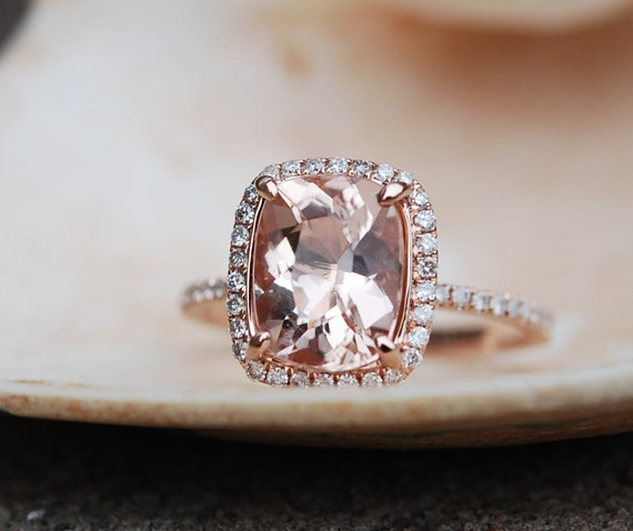 Rose gold ring. Engagement ring. Peach sapphire 4.63ct cushion sapphire diamond ring.