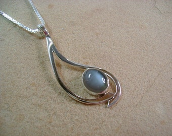 Silver Moonstone and Sterling Silver Pendant