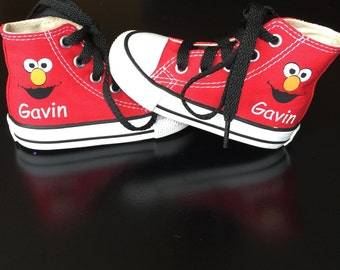 Personalized Infant and Kids Custom Elmo High Top Converse Shoes