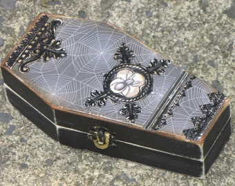 Medium Vintage Gothic Wooden Coffin Box Vampire Dracula Victorian Steampunk with Spider and Webs