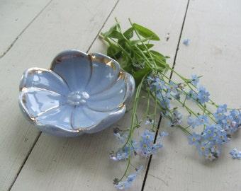 Vintage Blue Poppy Flower Ceramic Dish