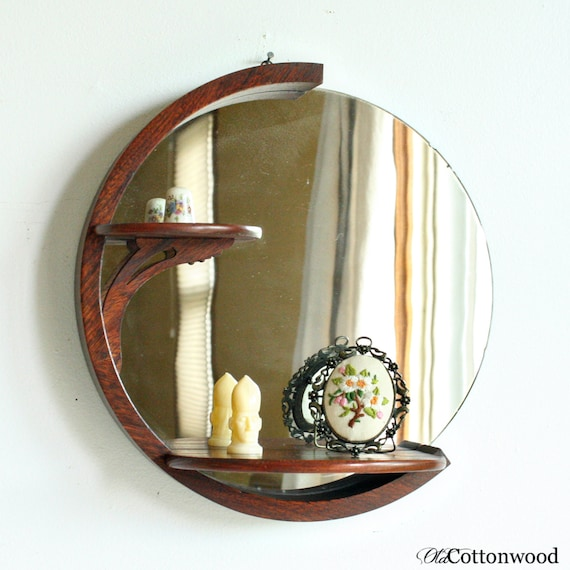 vintage wood art deco mirror round wall shelf display. Black Bedroom Furniture Sets. Home Design Ideas