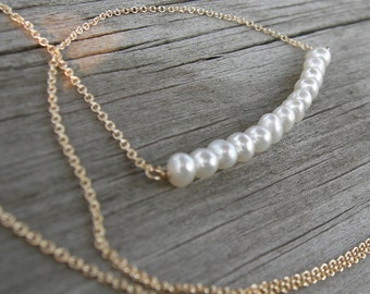 Freshwater Pearl Gold Bar Necklace