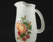 50% OFF Gay Fad Frosted Glass Pitcher Apricot Raspberry HA Vtg