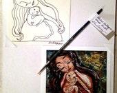 Full Potential ~ Collector's Set of Original Pen Line Drawing, Retired Studio Brush & Mini Archival Print