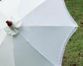 White Thai parasol with white lace ruffle size M