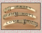 2 Hole Beads FAITH HOPE LOVE with Clear Swarovski Crystal Elements Silver Engraved Bangle Bars ~ Sliders ~ Qty 3
