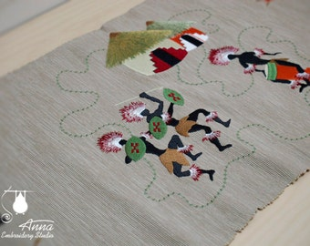 """African table runner. Home blessing. Cotton table linens. 14"""" by 51"""". 35cm by 130cm. Housewarming gift."""