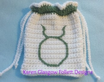 Taurus Zodiac Tarot Bag Hand Crochet White and Light Green w Double Drawstring Closures