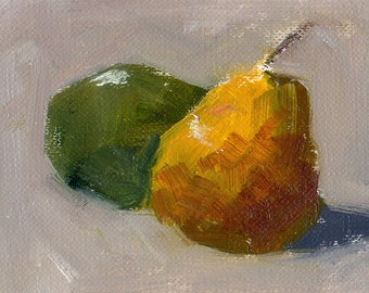 Yellow and Green Pear - ACEO - Original Oil Painting - FREE SHIPPING