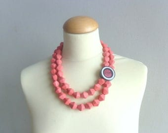 Coral red black statement necklace