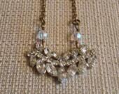 Recycled Vintage Rhinestone Necklace Upcycle Handmade