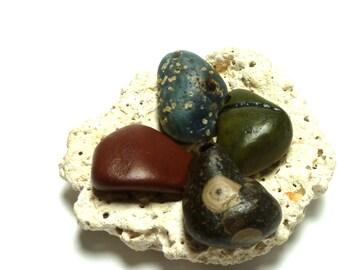 Large Beach Stone Beads Fossil Set Slag Glass COLORIST River Rock Shore diy Pebbles Jewelry Pendant Stone Jewelry Rare Fossil