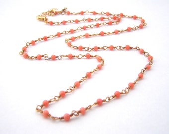 Coral Rosary Necklace, Tangerine, Gold, Dainty