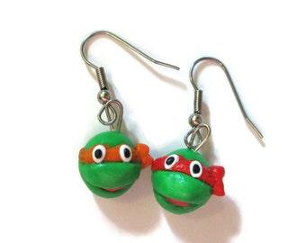 SALE Ninja Turtle Earrings, Rafael and Michelangelo READY to SHIP