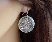 Sterling silver, resin and dichroic earrings, dangle,