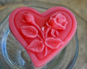 Floating heart candles with roses & leaves for weddings and events. GUAVA SET OF 12