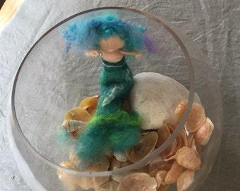 Waldorf needle felted wool mermaid