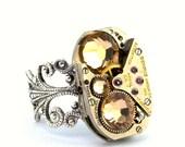Topaz Steampunk Jewelry Ring November Birthstone Swarovski Crystal Steam Punk Ring designed by London Particulars