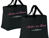 Set of 2 Personalized Tote Bags for Mother of the Bride, Mother of the Groom