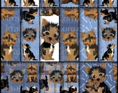 Yorkies set 3 BLUE - digital scrapbooking papers - brown gingham plaid damask bones [INSTANT DOWNLOAD]