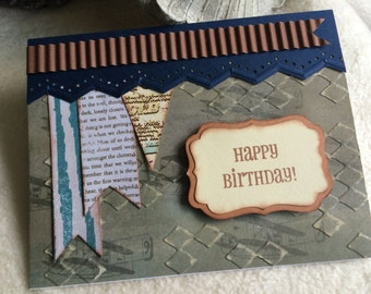 Homemade Masculine Birthday Card...Very Charming Distressed Diamonds Homemade Masculine Birthday Card