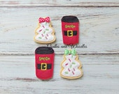 Cookie and Drink For Santa Felt Appliques, Santa Cup and Cookie Felt Appliques, Embroidered Appliques, Christmas Felties, Felties For Santa