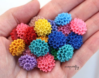 10pc dahlia resin flower cabochons /  22 bright + pastel colors  / cute resin flat back fun flower embellishments / 16mm diy hairpins /