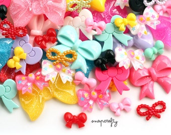 25 pc decoden bow cabochons mix / cute kawaii cabochons and embellishments for diy jewelry