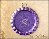 10 ~ Flattened Bottle Caps Purple Metallic ~ Split Ring Attached ~  DIY ~ Double Sided ~ 1 Inch Circle ~ Great With Resin ~