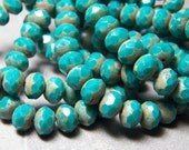 Czech Dark Turquoise Picasso 8x6mm Faceted Fire Polished Glass Rondelle Beads (25) 0643