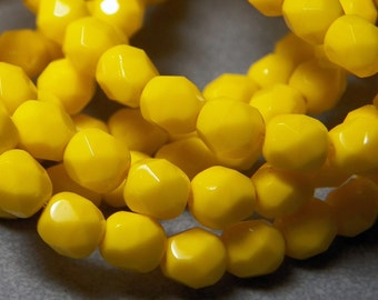 Czech Opaque Yellow Faceted Round Glass Beads 6mm (25) 012