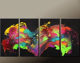 4pc Abstract Art Painting on Canvas 72x36 Original Contemporary art Paintings by Destiny Womack - dWo - Wild Dreams II