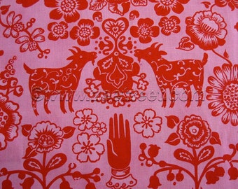 LAS GOLONDRINAS Bright Pink Red Alexander Henry Quilt Fabric by the Yard, Half Yard, or Fat Quarter Fq Goat Goats Tree Swallows Birds