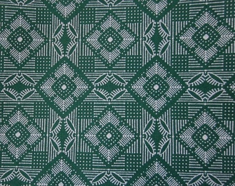 Mid Green Geometric Cotton Fat Quarter