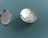 Large Hammered Silver Disc Earrings