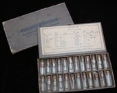Antique Vintage Swartchild & Company Watchmakers Box with 24 glass Vials Steampunk Mixed Media