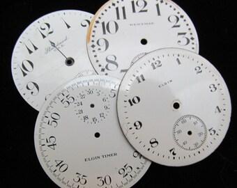 Vintage Antique Watch Dials Steampunk Faces Parts Enamel Porcelain Metal GB 72