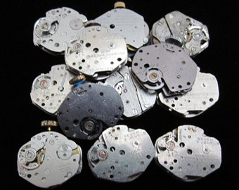 Vintage Antique Industrial Looking Watch Movements Steampunk Altered Art Assemblage  N 74