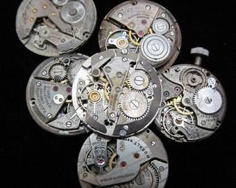 Vintage Antique Round Watch Movements Steampunk Altered Art Assemblage  Q 69