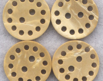 Coconut Wood Buttons Lacy Decorated Wooden Buttons 15mm (5/8 inch) Set of 8/BT263
