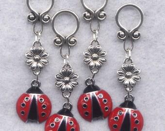Ladybug Knitting Stitch Markers BIG Rings Red Lady Bugs enmeled Set of 4 /SM45B