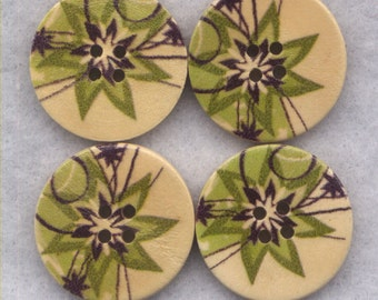 Green Flower Buttons Decorated Wooden Buttons 23mm (1 inch) Set of 4 /BT291