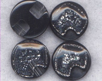 Black Buttons Glitter Finish Resin Shank Buttons 12mm (1/2 inch) Set of 8 /BT330