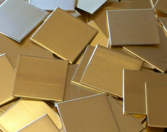 NuGold Squares - 18 Gauge, stamping blanks, metal blanks, hand stamping metal supply, jewelers gold blanks, stamping sheets