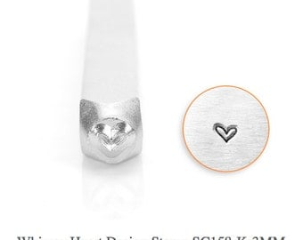 Whimsy Heart Design Stamp, Metal Stamp, 3mm, Carbon Steel Design Stamp, ImpressArt Design Stamp, SC158-K-3MM, Whimsy Heart