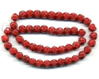 Vintage Cherry Red Beads 8mm English Cut Glass 50 Pcs.